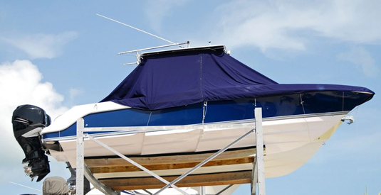 A boat with our sea ray factory original replacement canvas